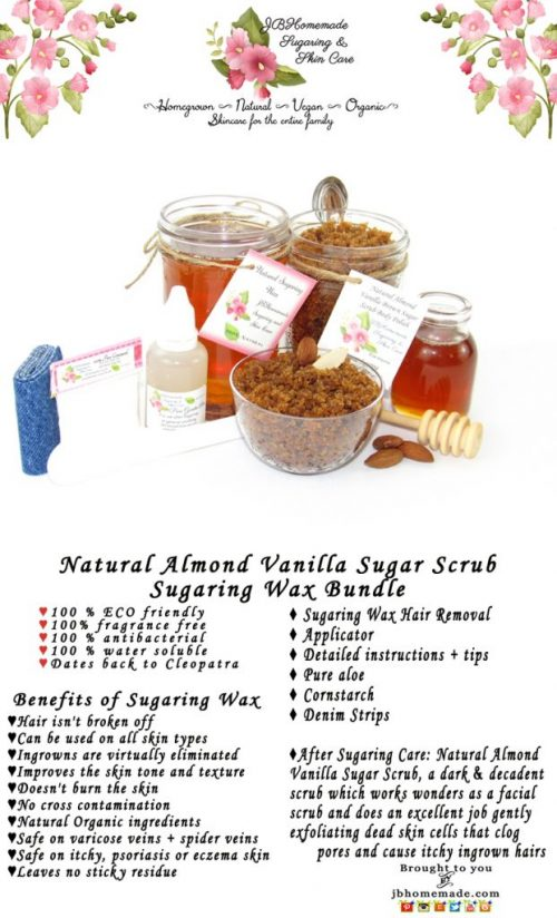 JBHomemade Natural Almond Vanilla Brown Sugar Scrub Sugaring Wax Bundle