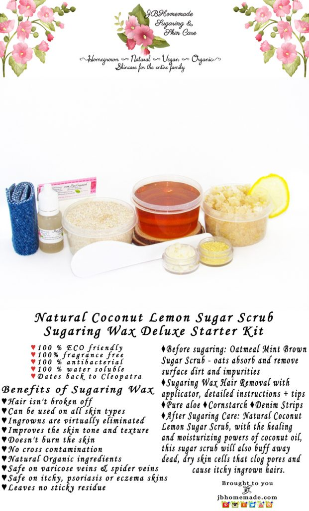 Sugaring Wax Hair Removal Starter Kit with Oatmeal Scrub and Coconut Lemon Sugar Scrub – thinner hair