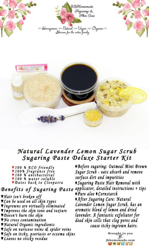 JBHomemade Natural Lavender Lemon Sugar Scrub Sugaring Paste Starter Kit