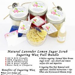 JBHomemade Natural Lavender Lemon Sugar Scrub Sugaring Wax Full Bundle