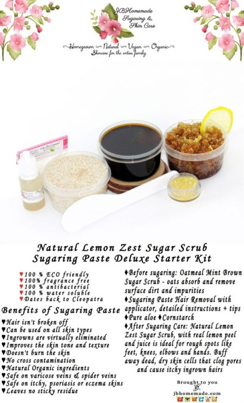 JBHomemade Natural Lemon Zest Sugar Scrub Sugaring Paste Starter Kit