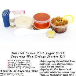 JBHomemade Natural Lemon Zest Sugar Scrub Sugaring Wax Starter Kit