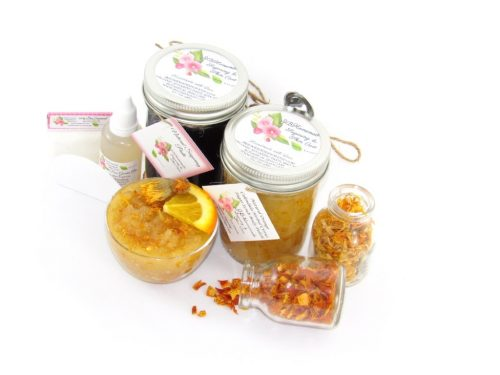 JBHomemade Natural Orange Calendula Sugar Scrub Sugaring Paste Bundle