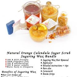 JBHomemade Natural Orange Calendula Sugar Scrub Sugaring Wax Bundle