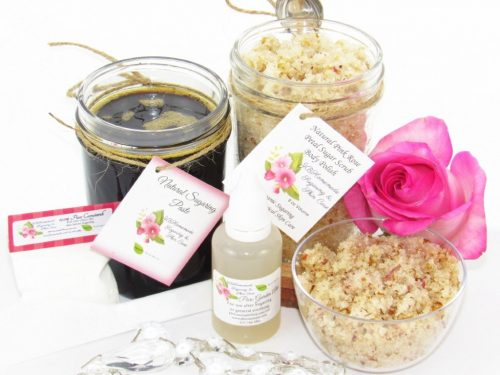 JBHomemade Natural Pink Rose Sugar Scrub Sugaring Paste Bundle