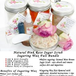 JBHomemade Natural Pink Rose Sugar Scrub Sugaring Wax Full Bundle