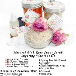 JBHomemade Natural Pink Rose Sugar Scrub Sugaring Wax Bundle
