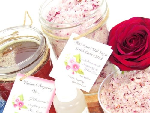 JBHomemade Natural Red Rose Sugar Scrub Sugaring Wax Bundle