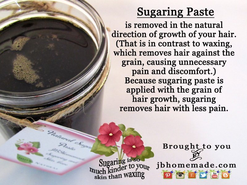 (That is in contrast to waxing, which removes hair against the grain, causing unnecessary pain and discomfort.) Because sugaring paste is removed with the grain of hair growth, sugaring removes hair with less pain.