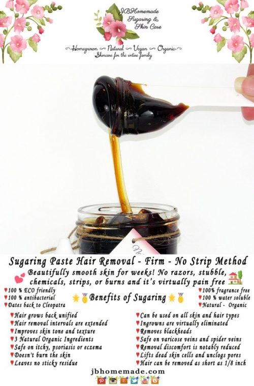 JBHomemade Sugaring Paste Hair Removal - Firm - No Strip Method 8 oz