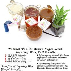JBHomemade Natural Vanilla Brown Sugar Scrub Sugaring Wax Full Bundle